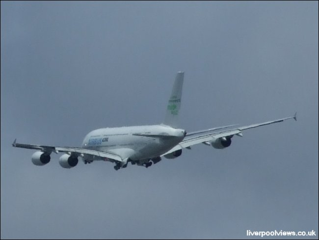 The Airbus 380 over Liverpool on 12th July 2008