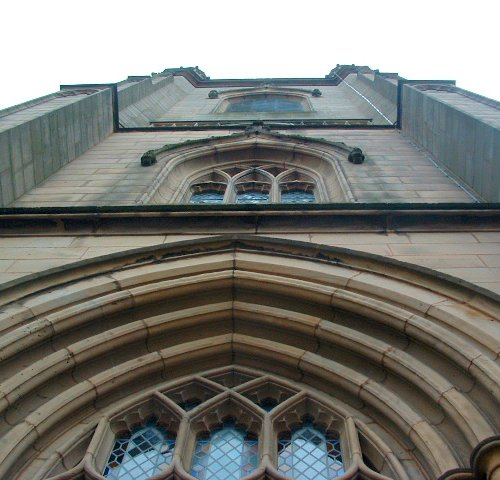 Looking up at the Our Lady and St Nicholas Anglican Church tower