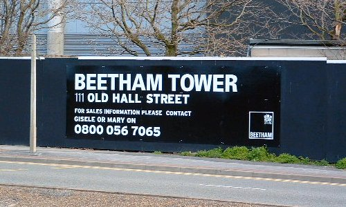 The Beetham Tower development on Old Hall Street