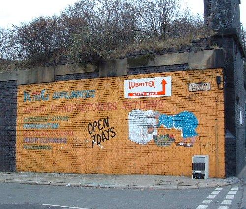 Fading wall art on Spraing Street off Love Lane