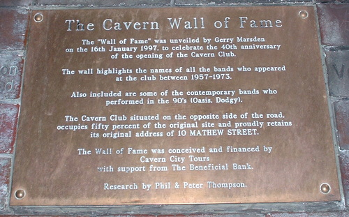 The Wall of Fame plaque