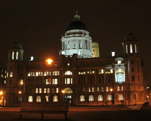 The Port of Liverpool building at night