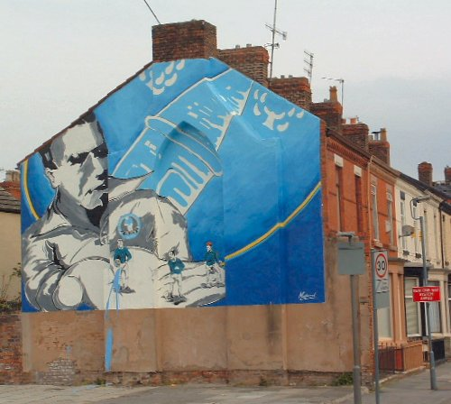 Painted wall with Everton players