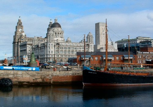 The Three Graces across the Canning Half Tide Dock