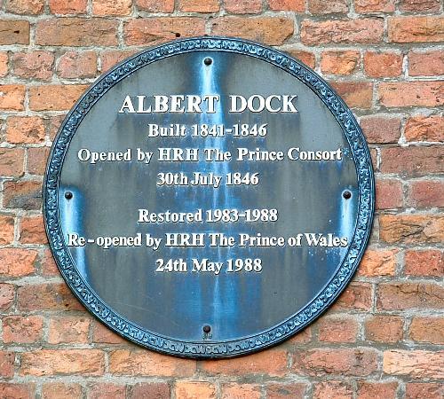 The Albert Dock plaque 1988