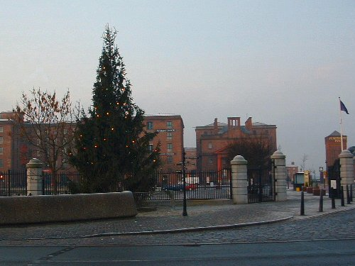 The entrance to the Albert Dock during Christmas 2003