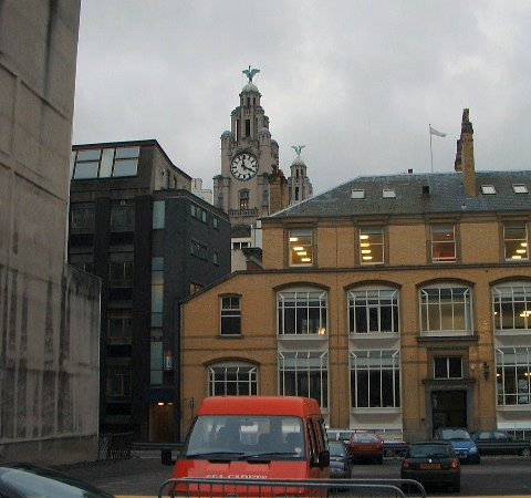 The Royal Liver Building from Rumford Street