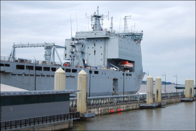 The RFA Mounts Bay on the Mersey