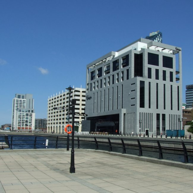The new buildings on the Princes Dock in Liverpool