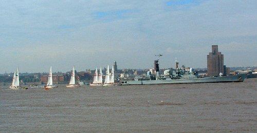 The Clipper Yachts and their escort of HMS Edinburgh