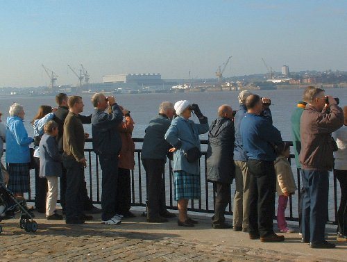 People waiting to see the Yachts return to Liverpool