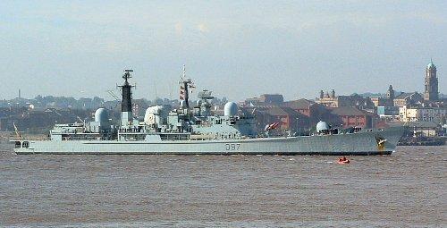 HMS Edinburgh on the Mersey