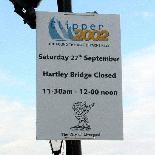 Hartley Bridge closure sign at the Albert Dock
