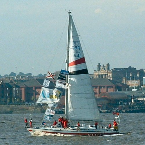 The Jersey Clipper on the Mersey - the winner of the Clipper Race